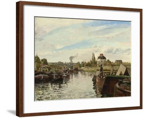 Barge on the Seine at Bougival, 1871-Camille Pissarro-Framed Art Print