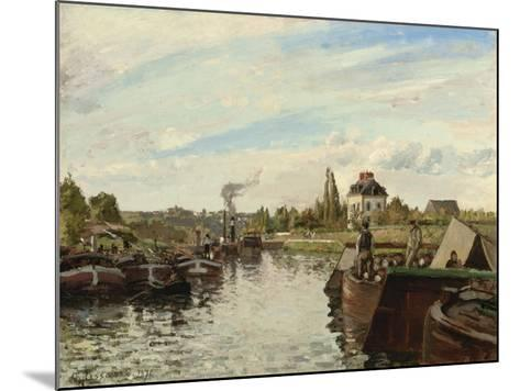 Barge on the Seine at Bougival, 1871-Camille Pissarro-Mounted Giclee Print