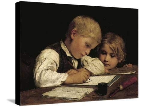 Boy Writing with His Sister, 1875-Albert Anker-Stretched Canvas Print