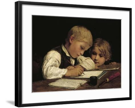 Boy Writing with His Sister, 1875-Albert Anker-Framed Art Print