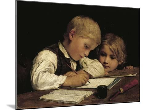 Boy Writing with His Sister, 1875-Albert Anker-Mounted Giclee Print