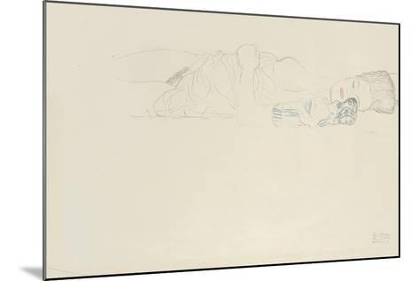 Reclining Half Nude to the Right, C.1914-15-Gustav Klimt-Mounted Giclee Print
