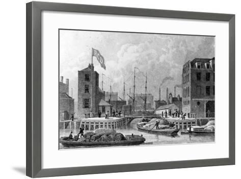 Entrance to the Regent's Canal, Limehouse, Engraved by F. J. Havell, 1828-Thomas Hosmer Shepherd-Framed Art Print