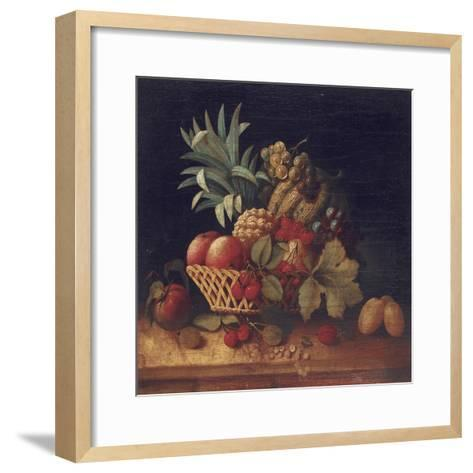 Grapes, Plums, Cherries, Peaches, an Apple, a Pineapple, and a Melon, in a Wicker Basket-Charles Lewis-Framed Art Print