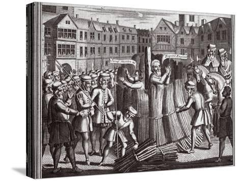 The Martyrdom of Mr John Bradford and John Leaf in Smithfield, Illustration from 'Foxes Martyrs'?--Stretched Canvas Print