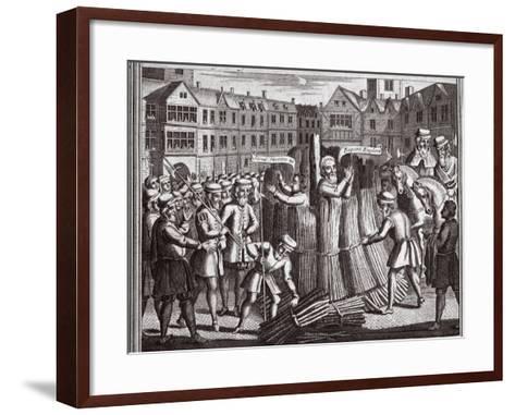 The Martyrdom of Mr John Bradford and John Leaf in Smithfield, Illustration from 'Foxes Martyrs'?--Framed Art Print