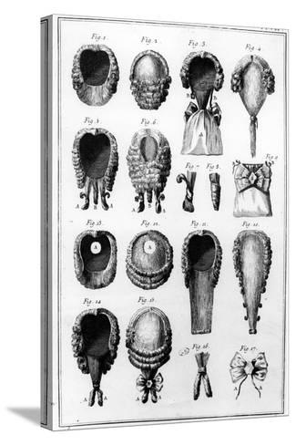 Illustrations of Various Wig Fashions, Plate Vii, Vol.8, from 'Encyclopedie Des Sciences Et…--Stretched Canvas Print