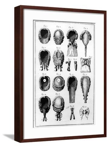 Illustrations of Various Wig Fashions, Plate Vii, Vol.8, from 'Encyclopedie Des Sciences Et…--Framed Art Print