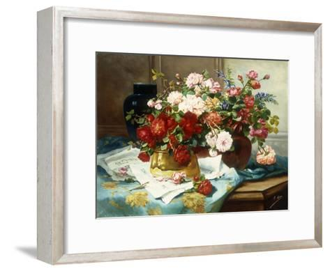 Still Life with Flowers and Sheet Music, C.1877-Jules Etienne Carot-Framed Art Print