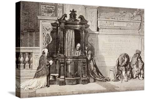 Confession in an Italian Catholic Church. 19th Century Illustration. from El Mundo Ilustrado,…--Stretched Canvas Print