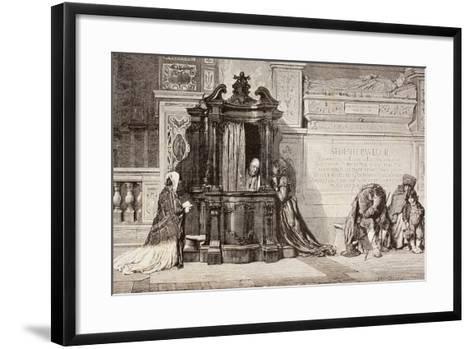 Confession in an Italian Catholic Church. 19th Century Illustration. from El Mundo Ilustrado,…--Framed Art Print
