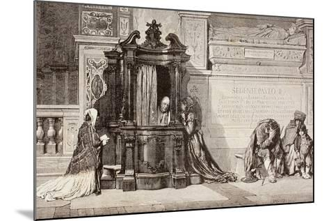 Confession in an Italian Catholic Church. 19th Century Illustration. from El Mundo Ilustrado,…--Mounted Giclee Print