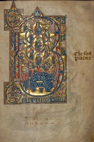 Ms 322 F.7R, Psalm 1, Initial B, Tree of Jesse, Illustration from the 'De Braile Psalter', C.1250-William de Brailes-Stretched Canvas Print