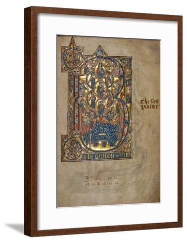 Ms 322 F.7R, Psalm 1, Initial B, Tree of Jesse, Illustration from the 'De Braile Psalter', C.1250-William de Brailes-Framed Art Print
