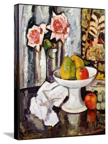 Still Life with Bowl of Fruit and a Vase of Pink Roses-George Leslie Hunter-Stretched Canvas Print