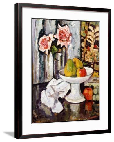 Still Life with Bowl of Fruit and a Vase of Pink Roses-George Leslie Hunter-Framed Art Print