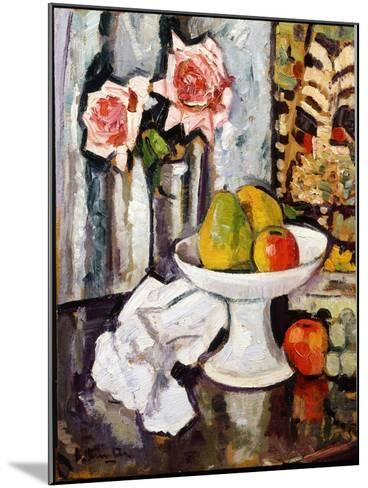Still Life with Bowl of Fruit and a Vase of Pink Roses-George Leslie Hunter-Mounted Giclee Print