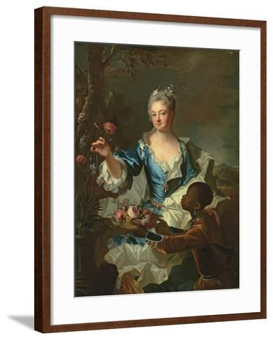 Portrait of Hyacinthe-Sophie De Beschanel-Nointel, Marquise De Louville-Hyacinthe Rigaud-Framed Art Print