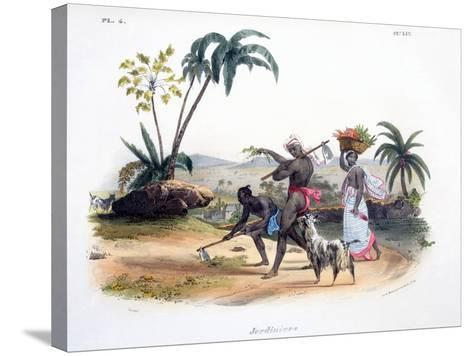 Gardeners Cultivating Vegetables, 1827-35-M^E^ Burnouf-Stretched Canvas Print