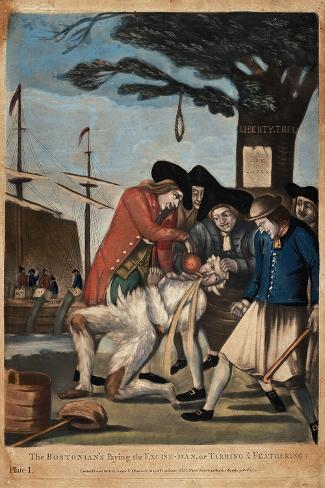 The Bostonian's Paying the Excise-Man, or Tarring and Feathering, 1774-Philip Dawe-Stretched Canvas Print