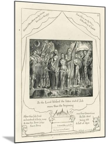 Plate 21, Job and His Wife Restored to Prosperity, Illustration from the 'Book of Job', C.1825-William Blake-Mounted Giclee Print