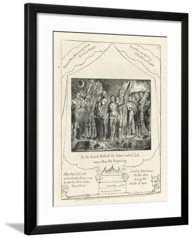 Plate 21, Job and His Wife Restored to Prosperity, Illustration from the 'Book of Job', C.1825-William Blake-Framed Art Print