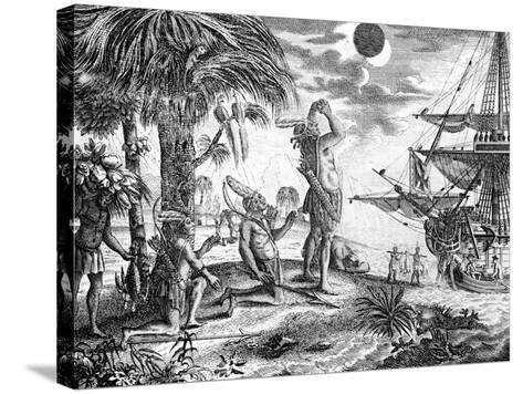 The Indians Astonished at the Eclipse of the Moon Foretold by Columbus, Illustration from 'A New…--Stretched Canvas Print