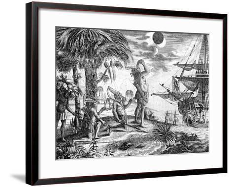 The Indians Astonished at the Eclipse of the Moon Foretold by Columbus, Illustration from 'A New…--Framed Art Print