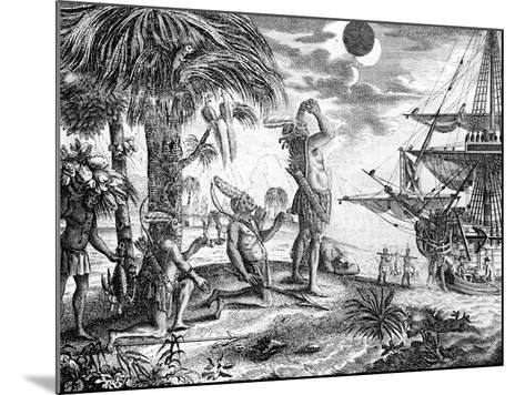 The Indians Astonished at the Eclipse of the Moon Foretold by Columbus, Illustration from 'A New…--Mounted Giclee Print