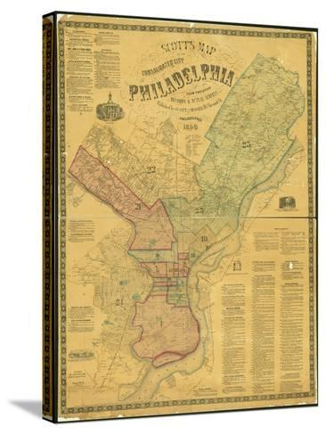 Scott's Map of the Consolidated City of Philadelphia, 1856-James Scott-Stretched Canvas Print