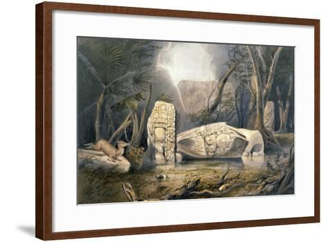 Broken Idol at Copan, from 'Views of Ancient Monuments in Central America, Chiapas and Yucatan',…-Frederick Catherwood-Framed Art Print