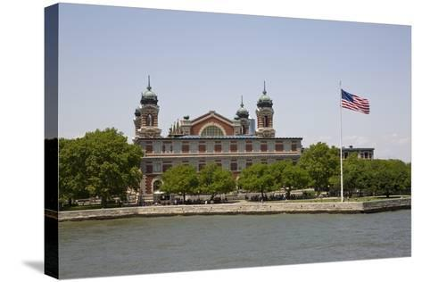 View of Ellis Island from the Liberty Island Ferry, New York--Stretched Canvas Print