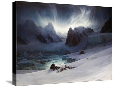 Magdalena Bay, View from Peninsula in Northern Spitsbergen with Aurora Borealis, 1841-Fran?ois-Auguste Biard-Stretched Canvas Print