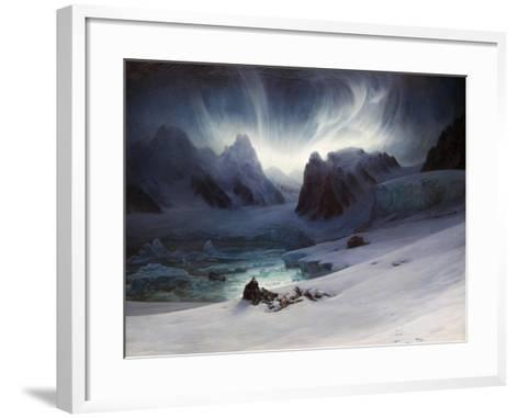 Magdalena Bay, View from Peninsula in Northern Spitsbergen with Aurora Borealis, 1841-Fran?ois-Auguste Biard-Framed Art Print