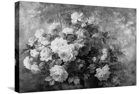 A Bunch of Roses in a Wooded Landscape-Frans Mortelmans-Stretched Canvas Print
