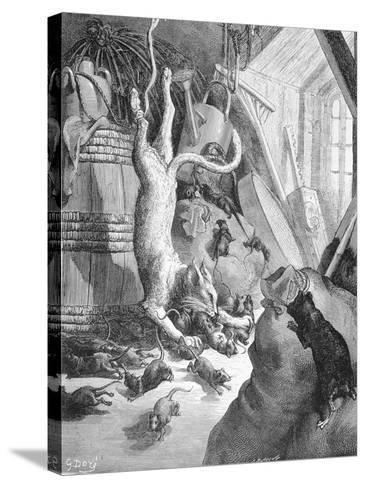 The Cat and the Old Rat, Illustration from 'Fables' by La Fontaine, 1868-Gustave Dor?-Stretched Canvas Print