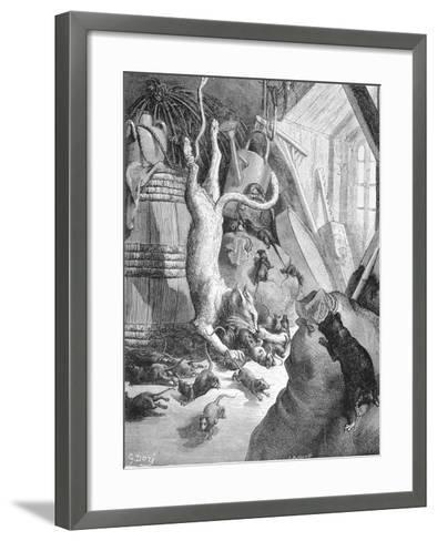 The Cat and the Old Rat, Illustration from 'Fables' by La Fontaine, 1868-Gustave Dor?-Framed Art Print