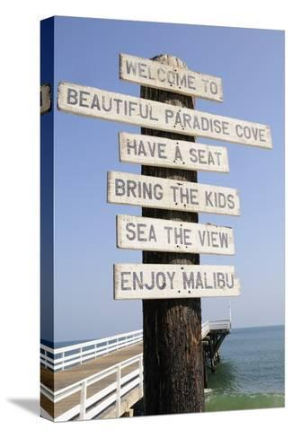Welcome Sign at Paradise Cove in Malibu--Stretched Canvas Print
