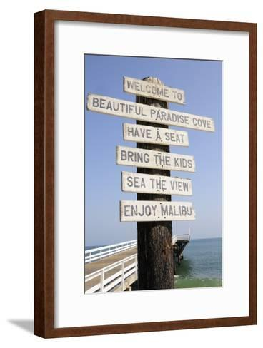Welcome Sign at Paradise Cove in Malibu--Framed Art Print
