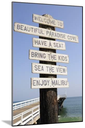 Welcome Sign at Paradise Cove in Malibu--Mounted Photographic Print