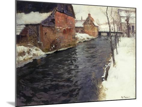A Winter River Landscape, 1895-Fritz Thaulow-Mounted Giclee Print