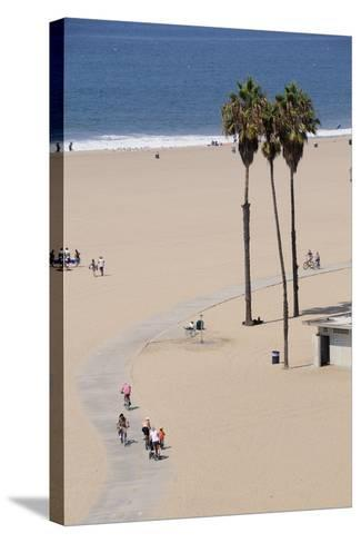 People Cycling the South Bay Cycle Route in the Town of Santa Monica Near Los Angeles--Stretched Canvas Print