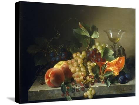 A Still Life with Fruit on a Stone Ledge, 1858-Bela Schaffer-Stretched Canvas Print