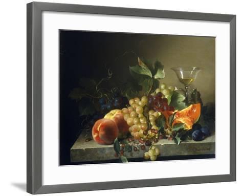 A Still Life with Fruit on a Stone Ledge, 1858-Bela Schaffer-Framed Art Print
