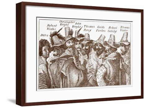 The Gunpowder Plot Conspirators, after a 1606 Engraving--Framed Art Print