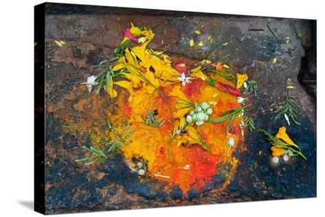 Hinduism: Pigments (Red Kumkum, Yellow Turmeric/Saffron Powder) and Scattered Flower Petal?--Stretched Canvas Print