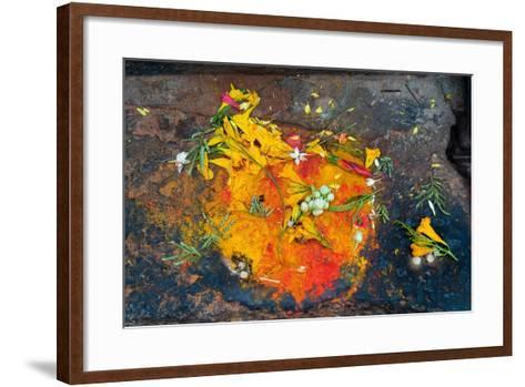 Hinduism: Pigments (Red Kumkum, Yellow Turmeric/Saffron Powder) and Scattered Flower Petal?--Framed Art Print
