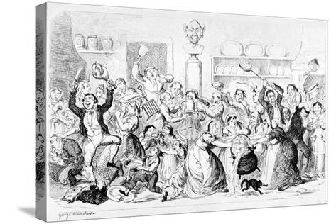 New Harmony - All Owin' - No Payin', 1845-George Cruikshank-Stretched Canvas Print
