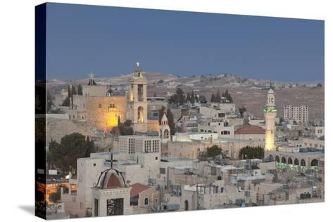 Panoramic Skyline of Bethlehem at Dusk, Palestine--Stretched Canvas Print