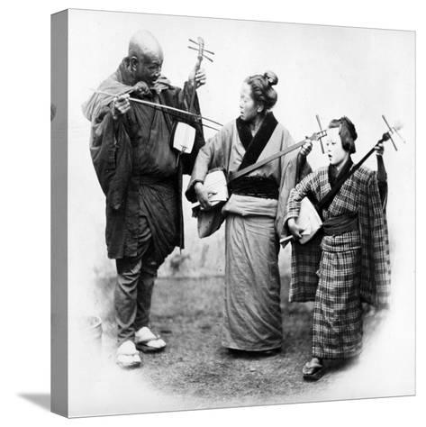 Japanese Musicians, C.1860s-Felice Beato-Stretched Canvas Print